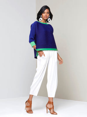 Dual Colour Hi-lo Top - Royal Blue/ Bright Green