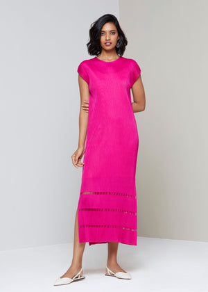 Shift Maxi Dress with Sheer Detail - Hot pink