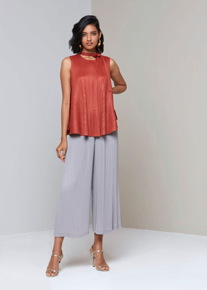 Sleeveless Flare Neck Tie Top - Taupe