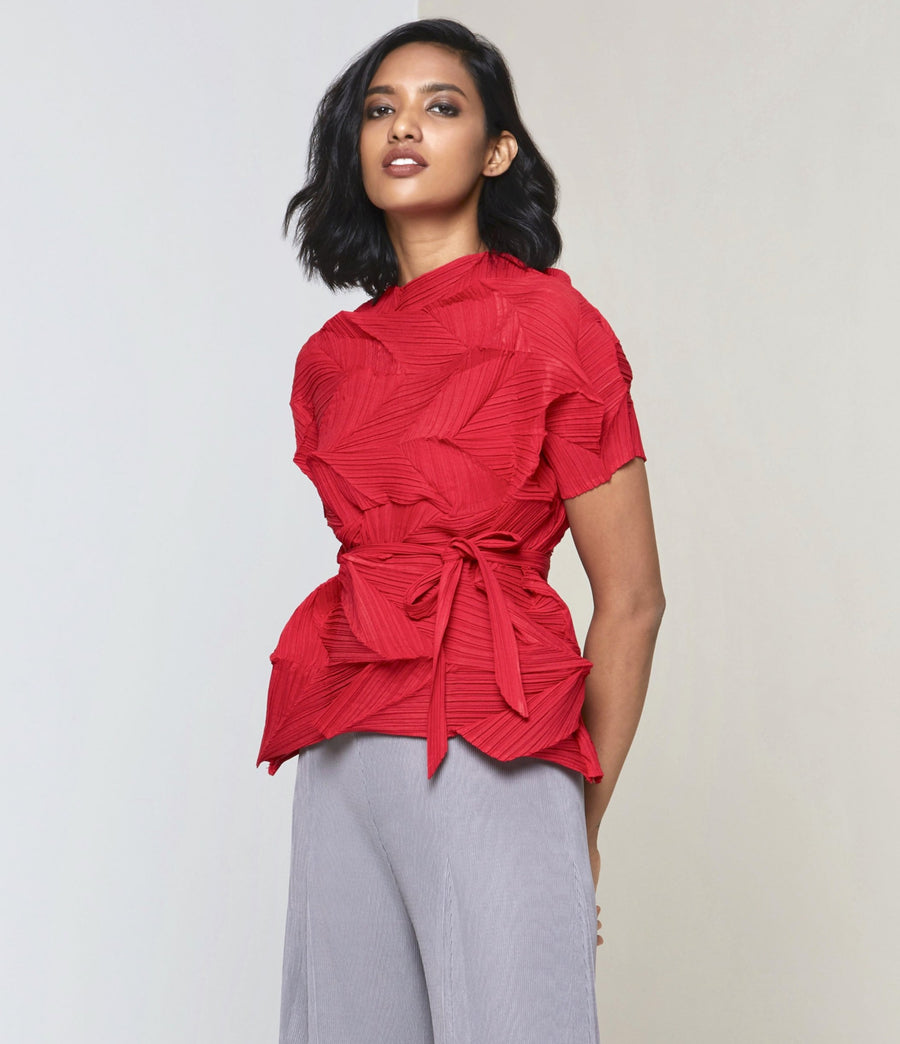 3D Short Sleeve Top - Red