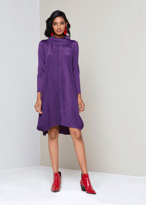 Turtleneck A Line Dress - Wine Red
