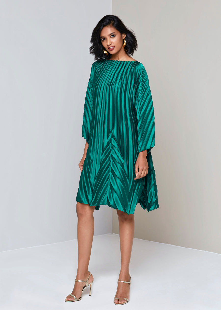 Chevron End Pleats Satin Dress - Emerald Green