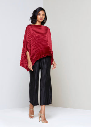 Satin Poncho Top - Maroon