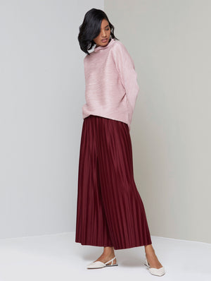 Full Sleeve Weave Pleat Top - Frost Pink