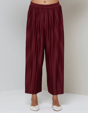 Riley Narrow Pleats Straight Pants - Maroon