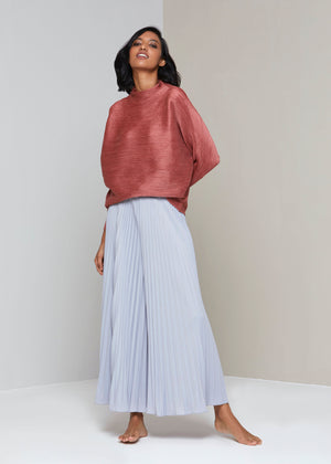Full sleeve weave Pleat Top - Brick