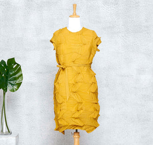 3D Belted Gia Dress - Mustard
