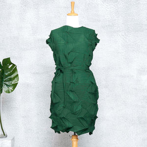 3D Belted Gia Dress - Green