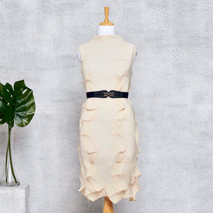 3D Sleeveless Dress - Cream