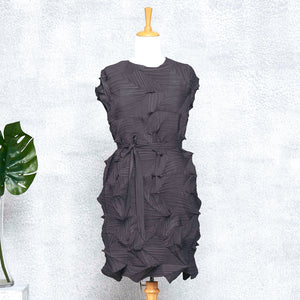 3D Belted Gia Dress - Dark Grey