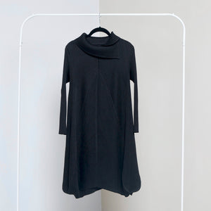 Turtleneck A Line Dress - Black
