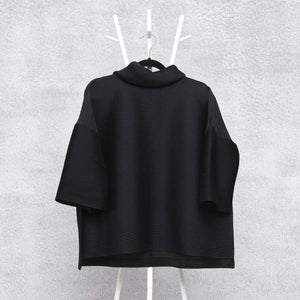 Turtleneck Box Sleeve Top - Black