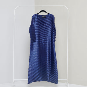 Satin Chevron Tunic Dress - Navy