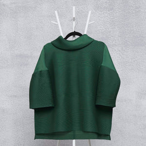 Turtleneck Box Sleeve Top - Dark Green