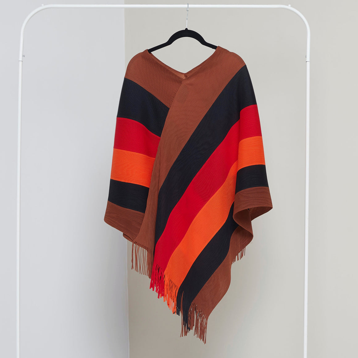 Poncho Top - Brown, Black, Red & Orange