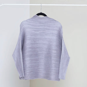 Full Sleeve Weave Pleat Top - Silver Champagne