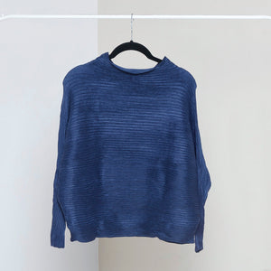 Full Sleeve Weave Pleat Top - Midnight Blue