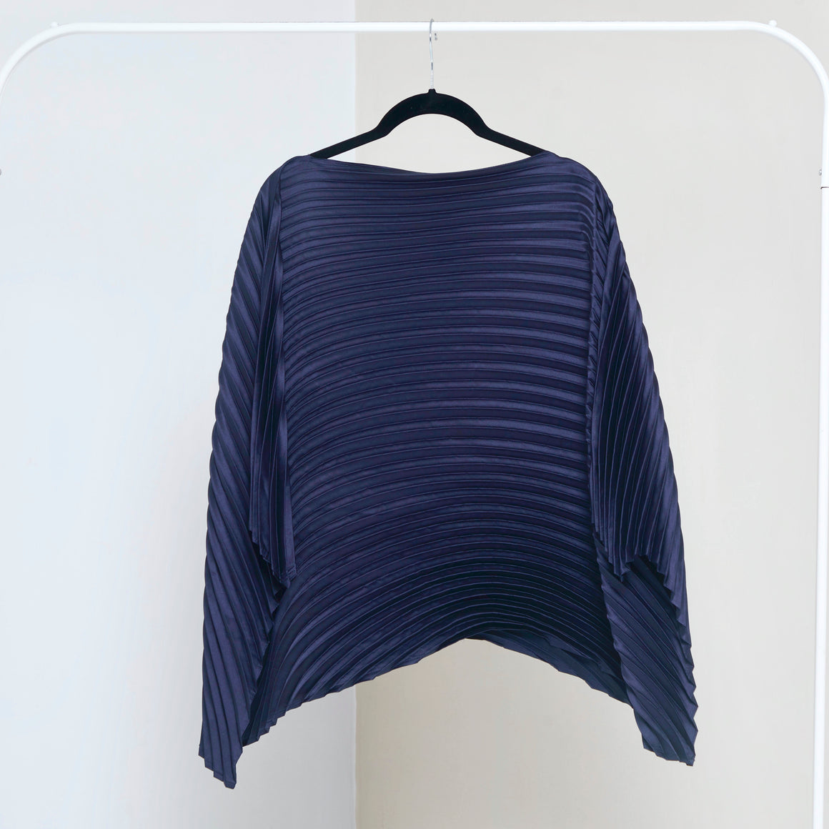 Satin Poncho Top - Navy