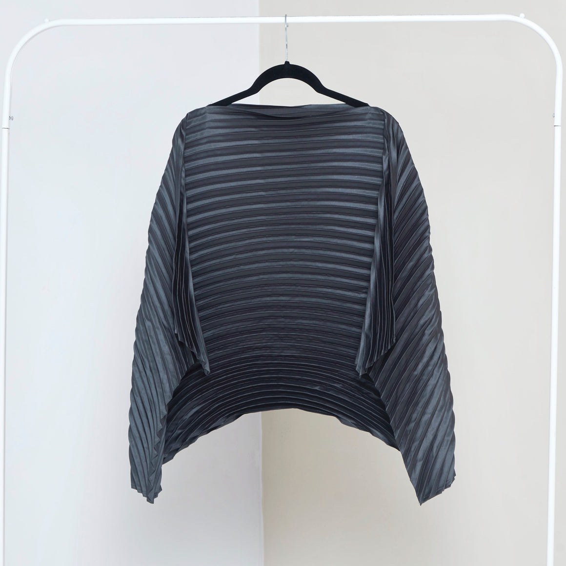 Satin Poncho Top - Steel Grey