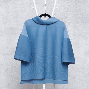 Turtleneck Box Sleeve Top - Sky Blue
