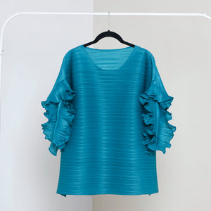 Ruffle Sleeve Top - Aqua