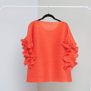 Ruffle Sleeve Top - Orange
