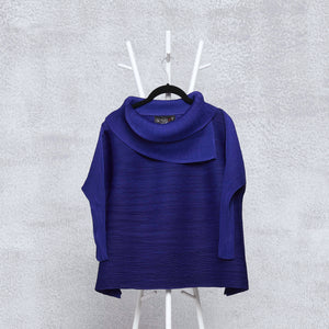 3/4th Sleeve Turtle Neck Top - Royal Blue