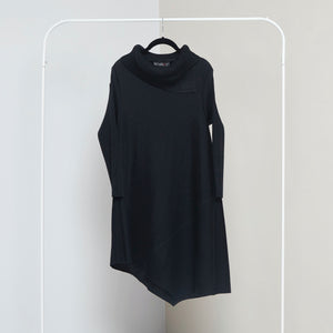 Assymetrical Turtleneck Dress- Black