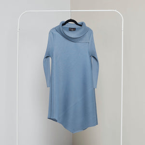 Assymetrical Turtleneck Dress- Pale Blue