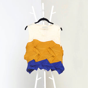3Dimensional Colourblock Sleeveless Top - Mustard Yellow