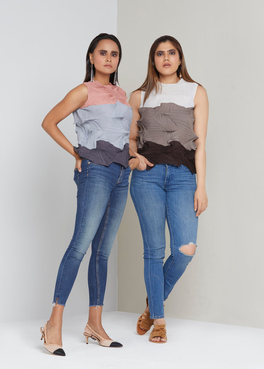 3Dimensional Colourblock Sleeveless Top - Grey
