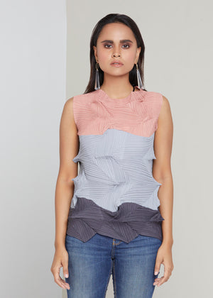 3Dimensional Colourblock Sleeveless Top - Pink