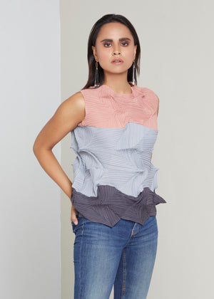 3Dimensional Colourblock Sleeveless Top - Cream Blue