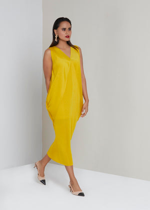 Sleevless Kimono Dress - Yellow