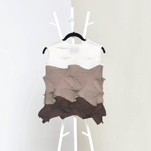 3Dimensional Colourblock Sleeveless Top - Taupe