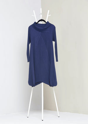 Turtleneck A Line Dress - Navy Blue