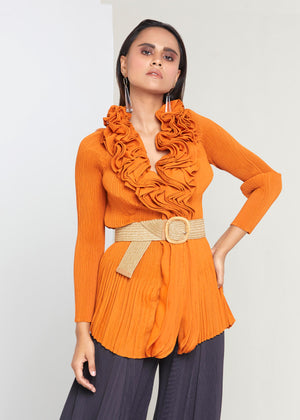 Ruffle Top - Orange