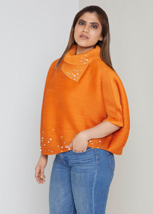 Batwing Pearled Turtle Neck Top - Orange