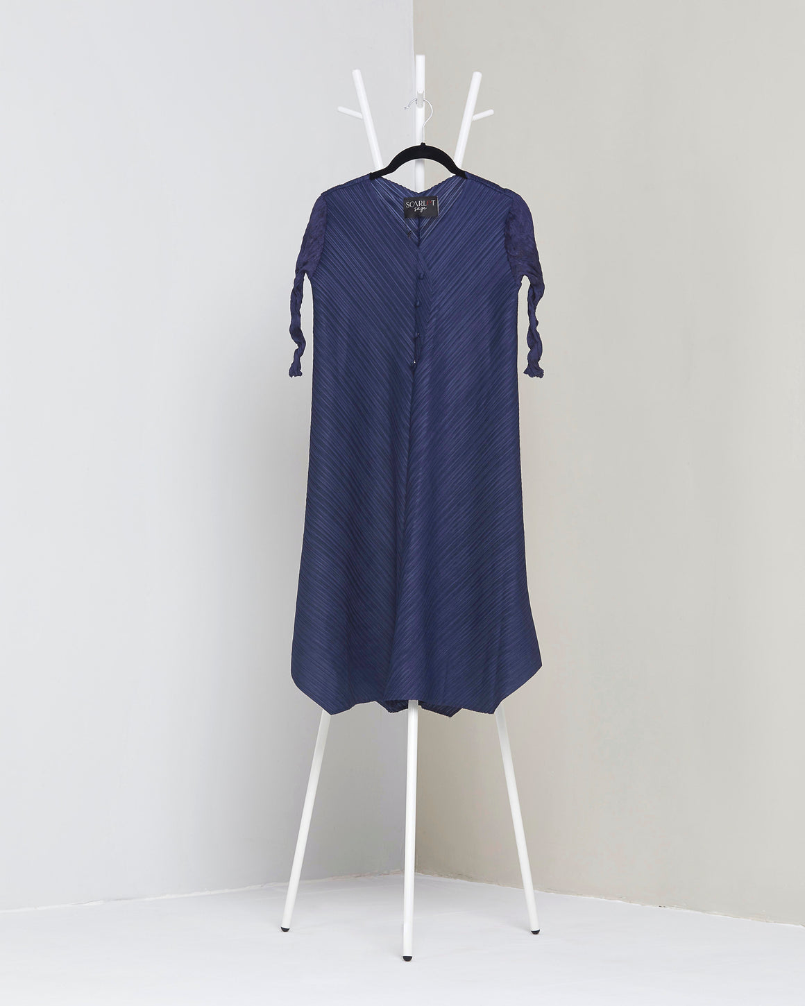 V Neck Tunic Dress - Navy Blue