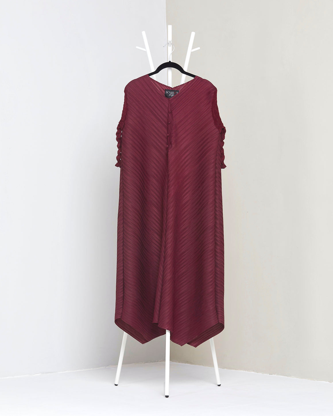 V neck Tunic Dress - Wine Red
