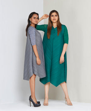 V Neck Tunic Dress - Green