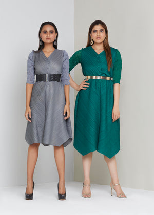 V Neck Tunic Dress - Grey