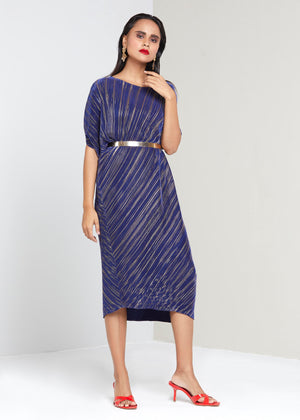 Aurelia Dress  Blue & Gold