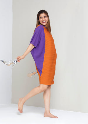 Batwing Dress - Orange & Purple