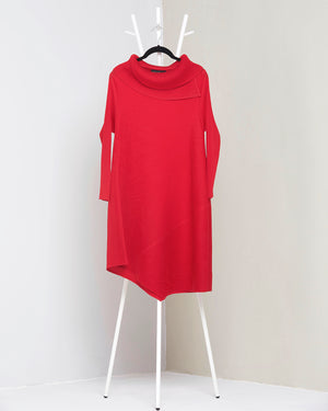 Assymetrical Turtleneck Dress - Red