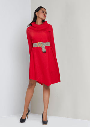Assymetrical Turtle Neck Dress - Red