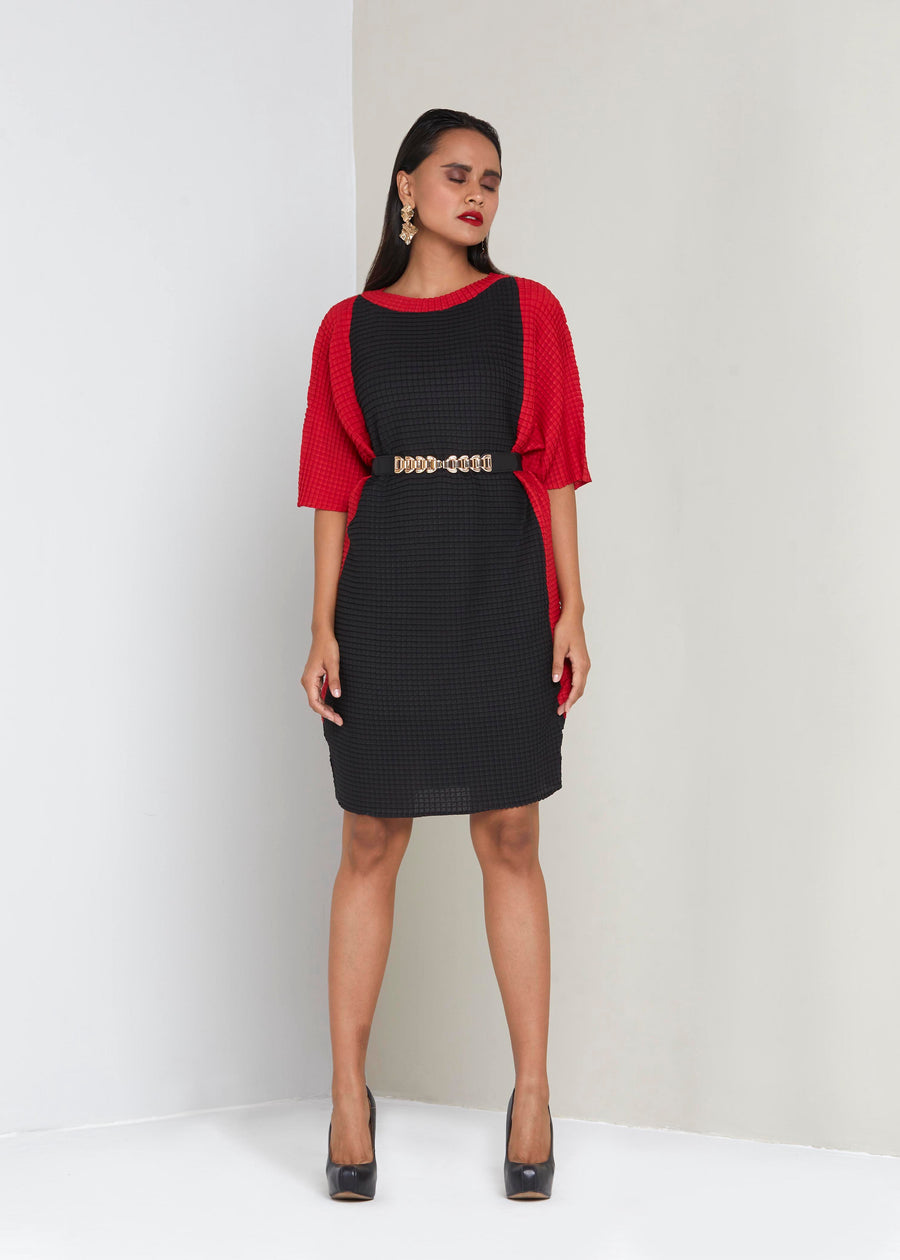 Batwing Dress - Black & Red