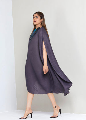 Cape Style Bias Drape Dress - Steel Grey