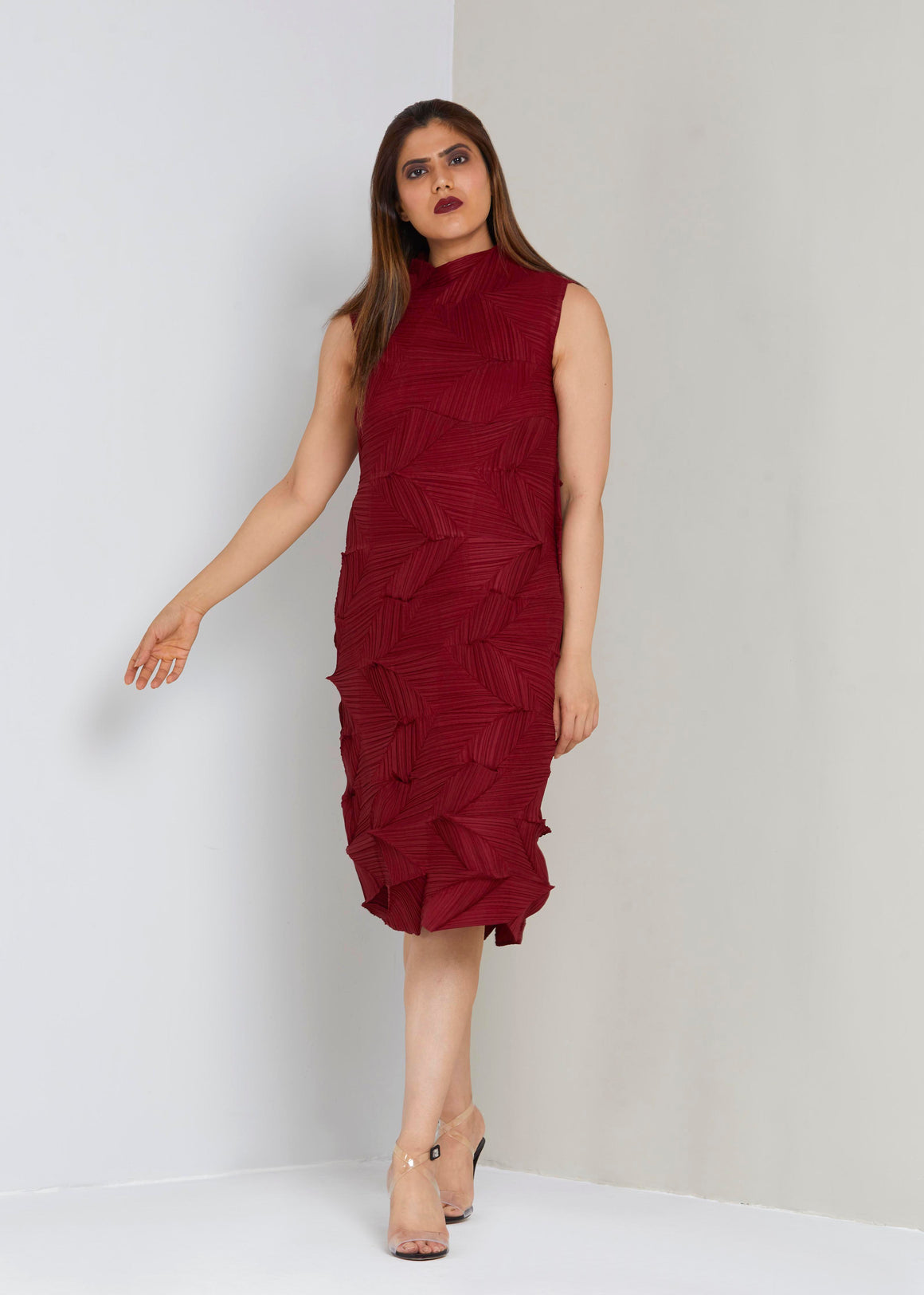 3D Sleeveless Dress - Maroon