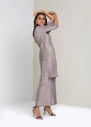 Satin Straight Long Tunic Co-ord Set - SandStone